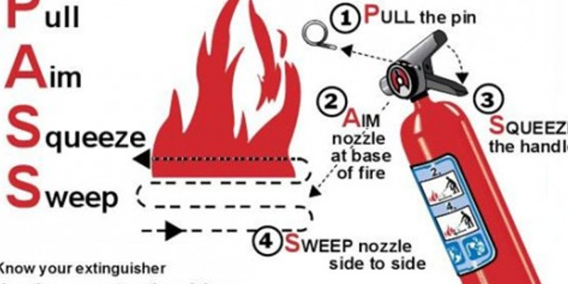 Remember to P-A-S-S when using a fire extinguisher